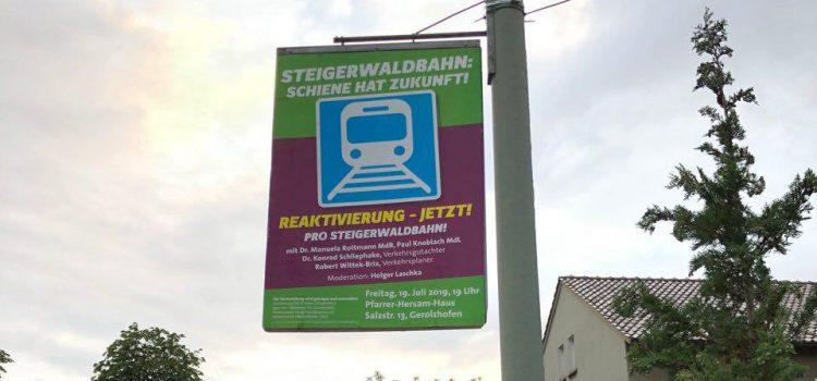 """Plakataktion in Gerolzhofen bezüglich Infoveranstaltung """"Reaktivierung – JETZT!"""""""